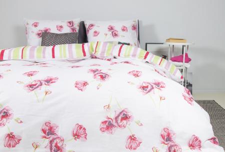 Nightlife reversible dekbedovertrekken   100% katoenen overtrekken in 6 designs Flower pink
