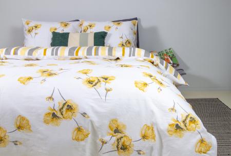 Nightlife reversible dekbedovertrekken | 100% katoenen overtrekken in 6 designs Flower yellow