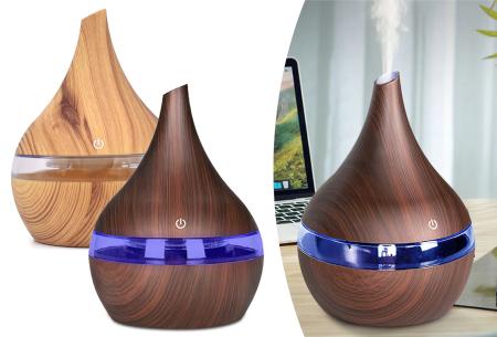 Aroma luchtbevochtiger 300 ml met houtlook  | Voorkom droge lucht in huis