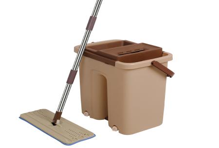 Cenocco Flat Mop | Handige dweil en emmer met ingebouwde was- en droogfunctie Bruin