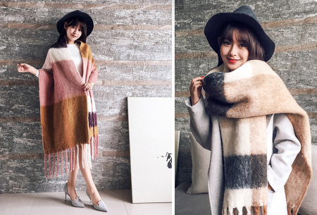 Fluffy sjaal | Heerlijk warme en lange overslagsjaal