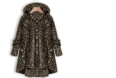 Fleece vest voor dames met capuchon | Heerlijk warm en comfortabel kledingstuk tijdens de koude dagen Luipaard Donker