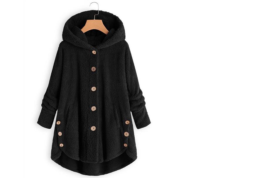 Fleece vest met capuchon - Zwart - Maat L