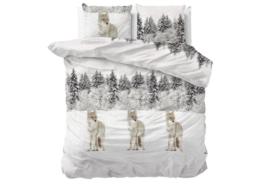 Flanellen dekbedovertrekken Nature Maat 200 x 220 cm - Winter Wolf