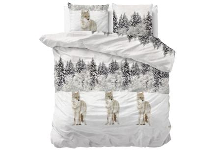 Flanellen dekbedovertrekken Nature | Super warme overtrekken in 6 leuke prints Winter Wolf