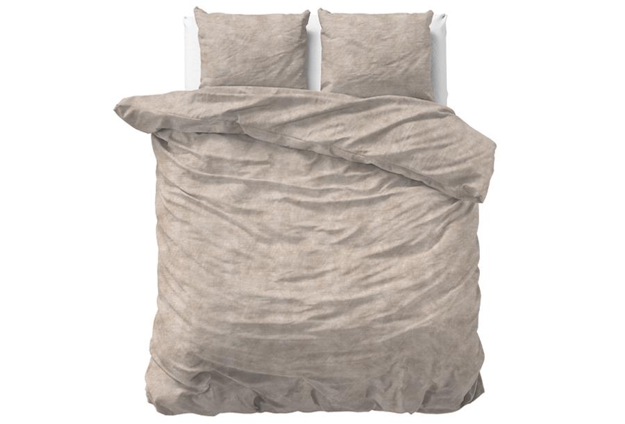 Flanellen dekbedovertrekken Nature Maat 140 x 220 cm - Washed Cotton Taupe