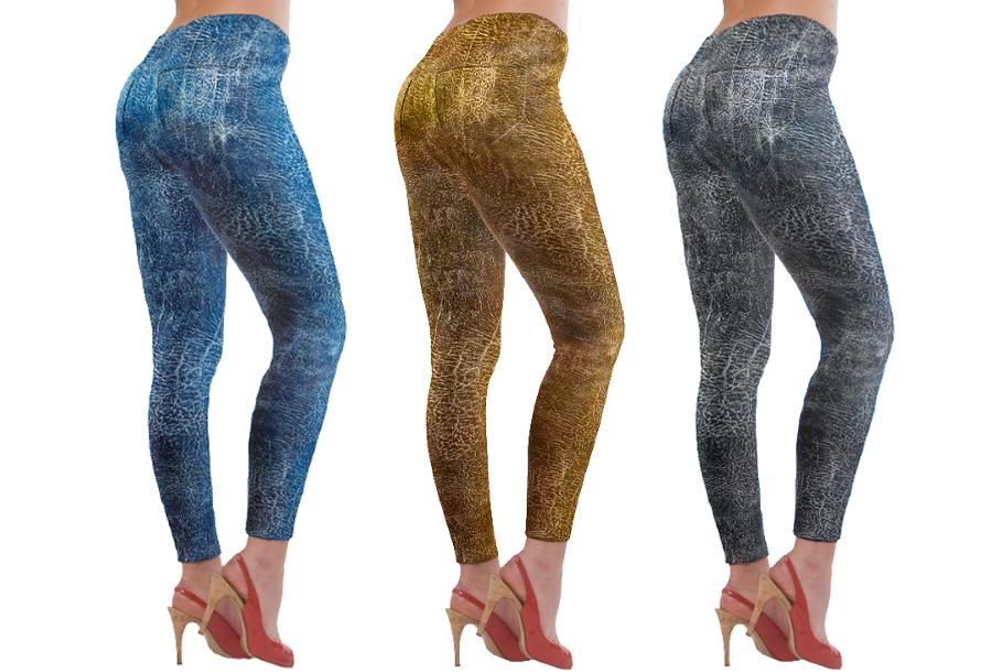 3-pack lederlook jeans leggings Maat L