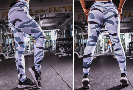Army legging | Stevige sportlegging met hippe legerprint Grijs
