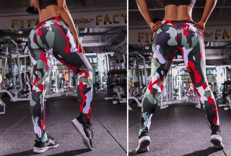 Army legging | Stevige sportlegging met hippe legerprint Groen