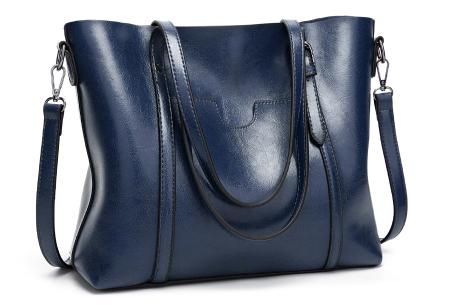 Lederlook handtas | Trendy dames tas met handige vakken Donkerblauw