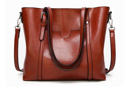 Lederlook handtas | Trendy dames tas met handige vakken Bruin