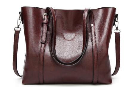 Lederlook handtas | Trendy dames tas met handige vakken Donkerbruin
