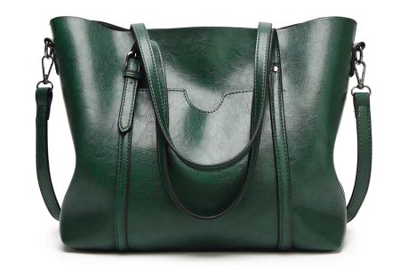 Lederlook handtas | Trendy dames tas met handige vakken Groen