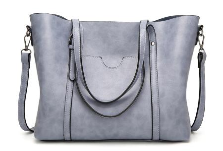 Lederlook handtas | Trendy dames tas met handige vakken Lichtblauw