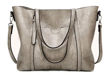 Lederlook handtas | Trendy dames tas met handige vakken Lichtgrijs