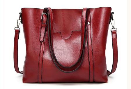 Lederlook handtas | Trendy dames tas met handige vakken Rood
