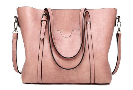Lederlook handtas | Trendy dames tas met handige vakken Roze