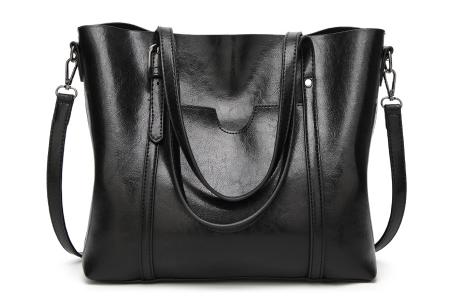 Lederlook handtas | Trendy dames tas met handige vakken Zwart