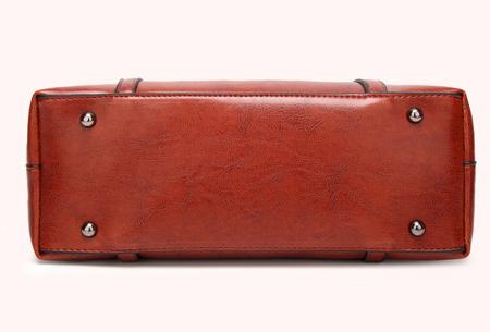 Lederlook handtas | Trendy dames tas met handige vakken