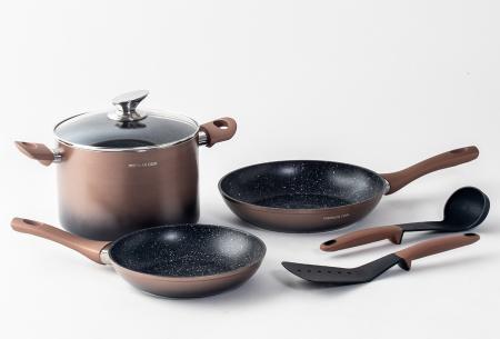 Mischler Cook 6-delige pannenset | De belangrijkste basis voor het koken van heerlijk eten! Koperkleurig