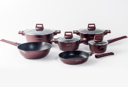 Mischler Cook 10-delige pannenset | Set van diverse pannen in 3 kleuren  Burgundy