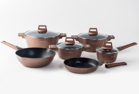 Mischler Cook 10-delige pannenset | Set van diverse pannen in 3 kleuren  Koperkleurig
