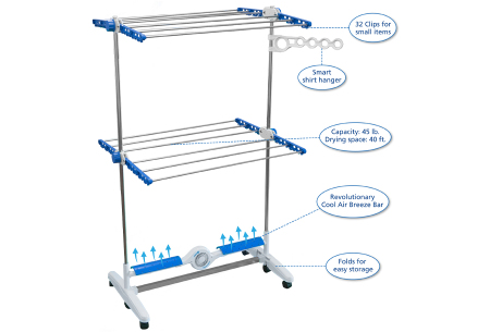 Elektrisch droogrek van Aqua Laser | Al jouw wasgoed nu extra snel droog!