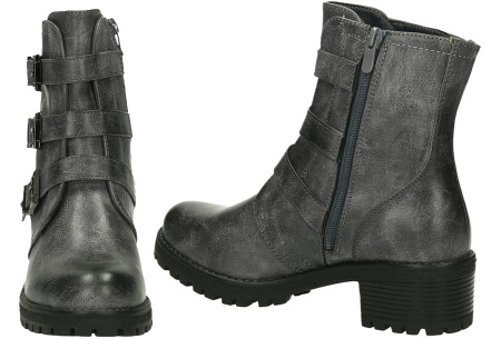 FINAL SALE: enkellaarsjes en biker boots | Alles nu slechts 9,99! BEL-2012 - Grijs