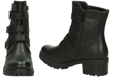 FINAL SALE: enkellaarsjes en biker boots | Alles nu slechts 9,99! BEL-2012 - Zwart