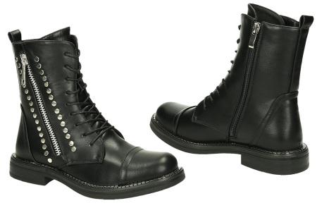 FINAL SALE: enkellaarsjes en biker boots | Alles nu slechts 9,99! Blo-b8866 - Zwart