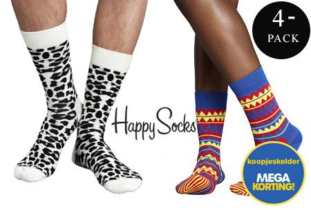 Happy Socks   4 paar vrolijke & hippe printsokken voor heren - Nu slechts 12,99 per set!