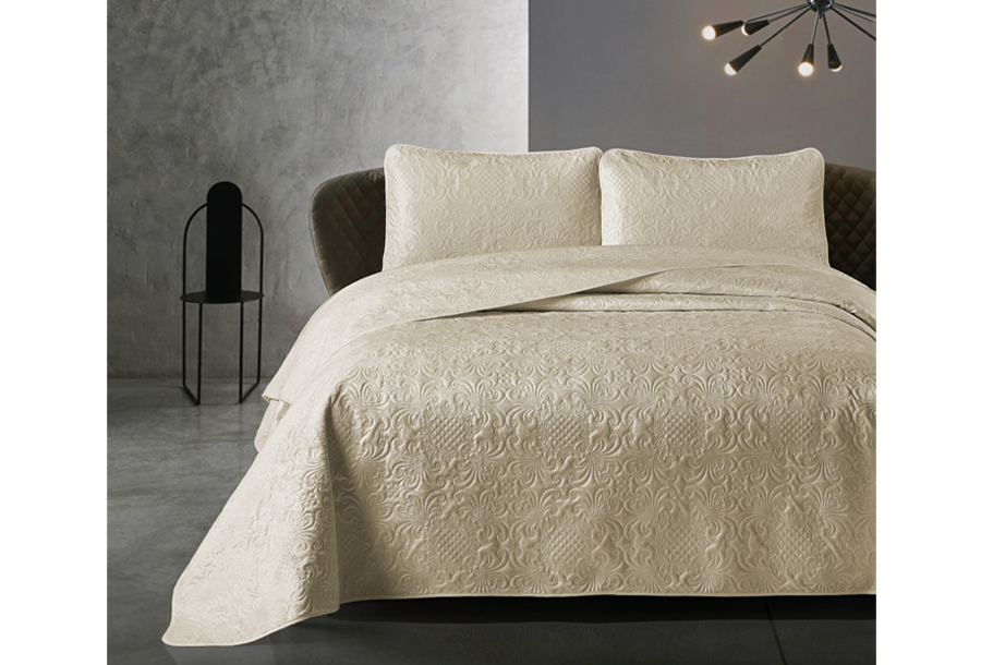Velvet bedsprei van Dreamhouse Maat 260 x 250 cm - Taupe