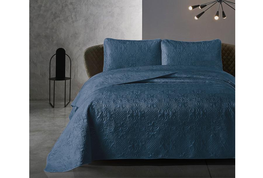 Velvet bedsprei van Dreamhouse Maat 260 x 250 cm - Donkerblauw