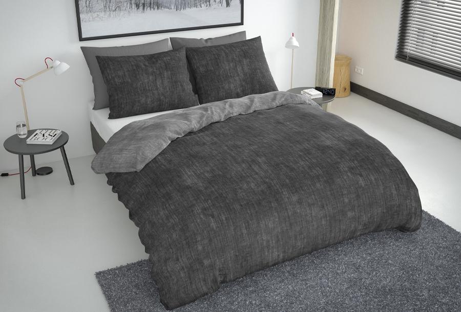 Nightlife reversible dekbedovertrekken Maat 240 x 220 cm - Antraciet