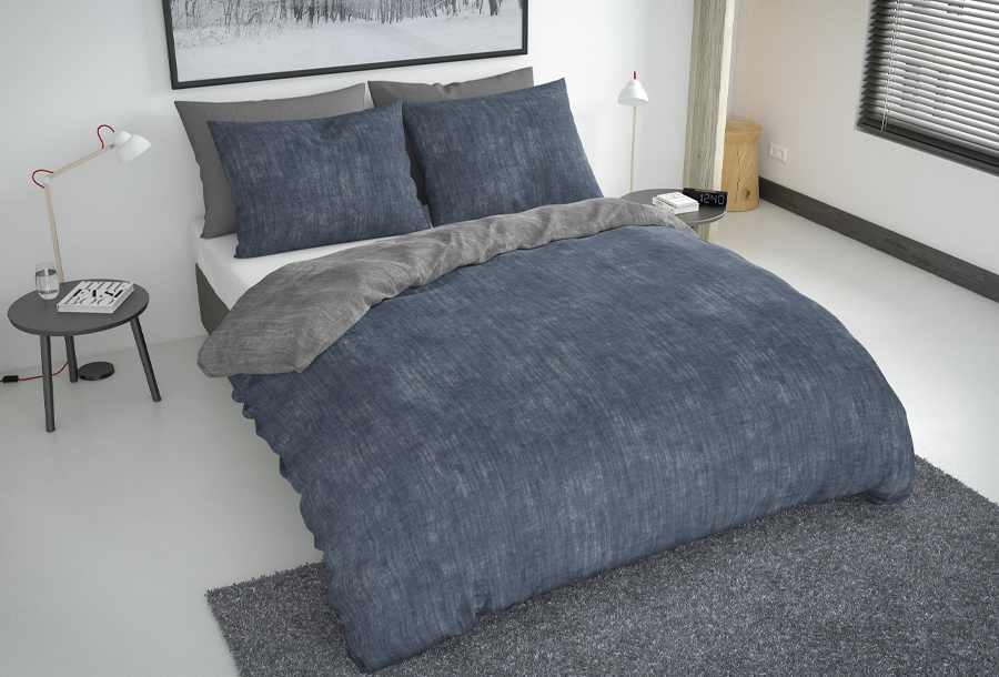 Nightlife reversible dekbedovertrekken Maat 240 x 220 cm - Blauw