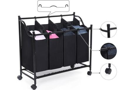Wassorteerder | Wasmand op wielen met 4 sorteervakken