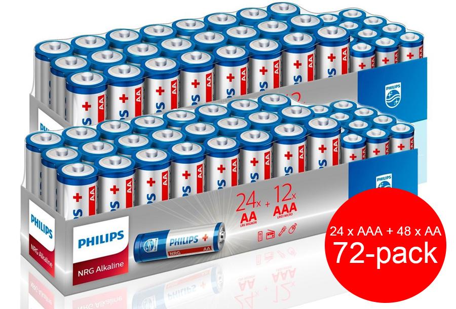 Philips mega-pack alkaline batterijen 2 x Philips mega-pack alkaline batterijen - 72 stuks