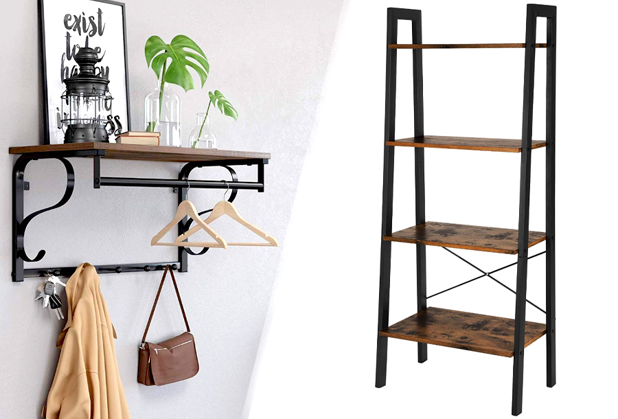 Industri�le kasten Wandkapstok + boekenkast + garderoberek