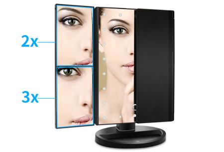 Make-up spiegel | 3-luik spiegel met LED verlichting