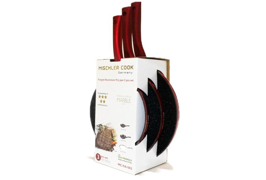 Mischler Cook 3-delige koekenpannenset Rood