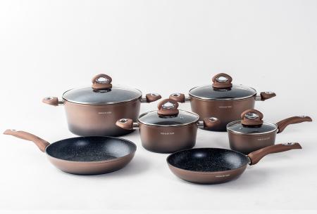 10-delige pannenset van Mischler Cook | In één set alle pannen die jij nodig hebt! Koperkleurig