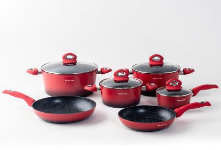 10-delige pannenset van Mischler Cook | In één set alle pannen die jij nodig hebt! Rood
