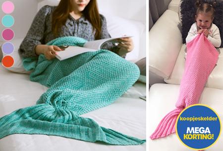 Zeemeermin deken | Gebreide deken met zeemeermin staart - nu slechts 12,95!