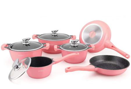 Royalty Line pannenset met marmer coating | Kies uit 4 kleuren Roze