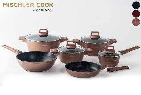 Mischler Cook 10-delige pannenset | Set van diverse pannen in 3 kleuren
