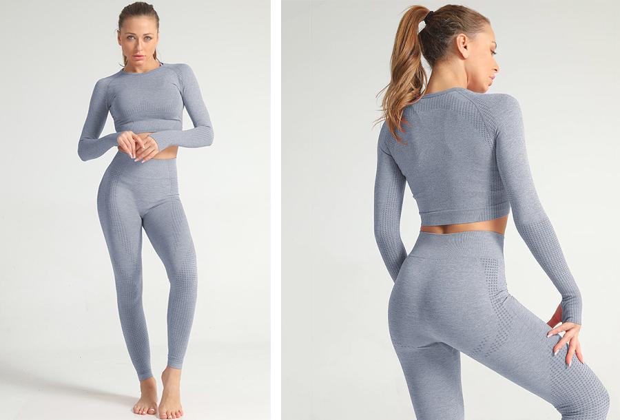 Sportkleding set Legging + top - maat L - grijsblauw