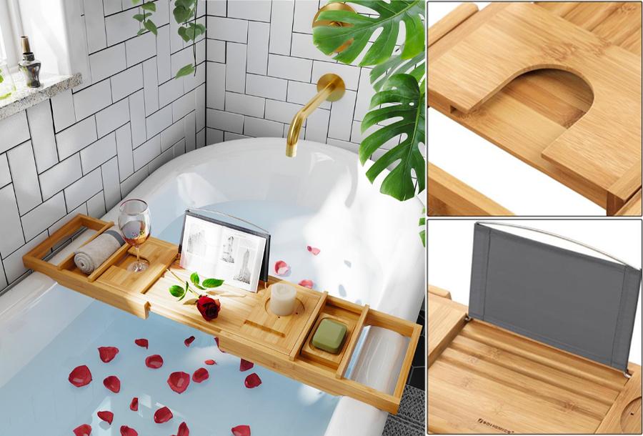 Uitschuifbaar bamboe badrek in de aanbieding