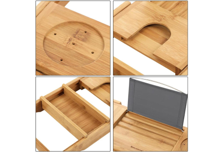 Uitschuifbaar bamboe badrek | Plek voor o.a. een boek, wijnglas én telefoon!