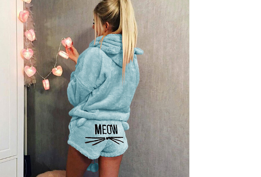 Meow damespyjama - Maat L - Lichtblauw