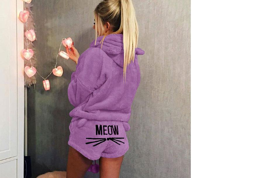 Meow damespyjama - Maat XL - Paars